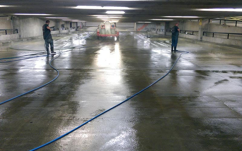 Commercial Pressure Washing Parking Garage