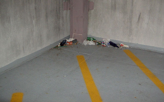 Parking Garage Maintenance Trash Cleanup