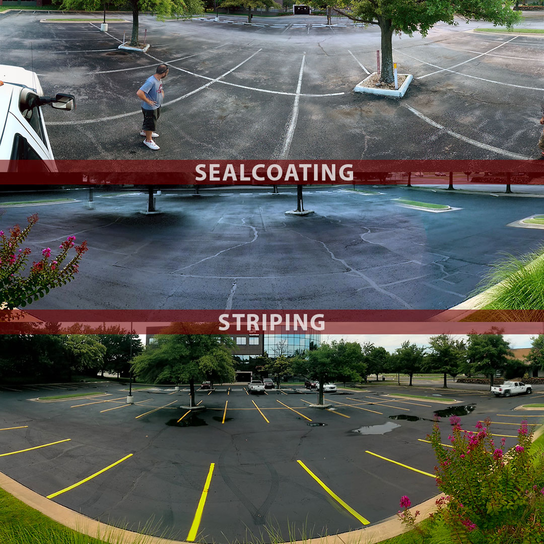 Sealcoating Striping - Before / After