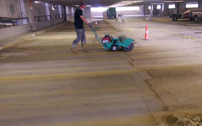 Parking Garage Striping Surface Prep